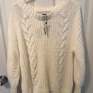 Express Cream chenille sweater
